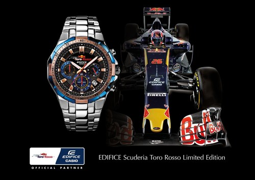 The visual that will support the launch of the watch EDIFICE Scuderia Toro Rosso Limited Edition, EFR-554TR ...