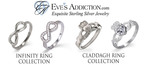 The Infinity Ring and Claddagh Ring Collections at EvesAddiction.com offer unique and beautiful jewelry styles of the traditional and popular rings.  (PRNewsFoto/EvesAddiction.com)