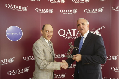 Qatar Airways CEO Discusses Economic Impact With Mayor Carlos Gimenez Of Miami-Dade County As Airline's New Operations Commence (PRNewsFoto/Qatar Airways)