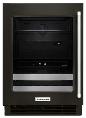 """24"""" Black Stainless Beverage Center with SatinGlide® Metal-Front Racks"""