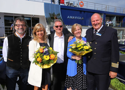 AmaViola christening celebration in Vilshofen, Germany with Christian Eberle, director of the tourism office for the city of Vilshofen; Kristin Karst and Rudi Schreiner, co-founders of AmaWaterways; Godmother Jackie Friedman, president of Nexion; AmaWaterways Captain Jan de Bruijn (left to right).