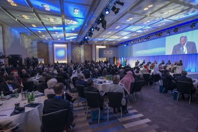 Christian, Muslim and other religious leaders meet at the KAICIID conference in Vienna to protect the religious and cultural diversity in Iraq and Syria. Picture credit: KAICIID/Curt Themessl (PRNewsFoto/KAICIID Dialogue Centre)