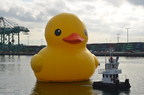 "Aramark is the official merchandiser of ""The World's Largest Rubber Duck,"" a 61 foot tall, 11 ton rubber duck that will wade across the Delaware River during Tall Ships(R) Philadelphia-Camden 2015. Rubber duck replicas are just one of the items souvenir seekers can find on sale at the festival."