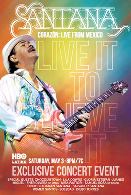 HBO Latino(R) Celebrates The Iconic Musician Carlos Santana With Two Television Specials. Includes Compelling Half-Hour Special And Star-Studded Concert With Performances By Cindy Blackman Santana, Chocquibtown, Lila Downs, Gloria Estefan, Juanes, Miguel, Fher Olvera Of Mana, Nina Pastori, Salvador Santana, Samuel Rosa Of Skank, Romeo Santos, Soledad And Diego Torres Filmed In Guadalajara, Mexico. Historic Concert Event Celebrates His First-Ever Latin Music Album Entitled Corazon Available In Stores May 6th.  (PRNewsFoto/HBO Latino)
