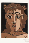 Pablo Picasso, Jeune Homme Couronne (Young Man Crowned), 1962, color linocut, gift of Mary A. and Donavon W. Byer, (C) 2010 Estate of Pablo Picasso / Artist Rights Society (ARS), New York.  (PRNewsFoto/Monterey Museum of Art)