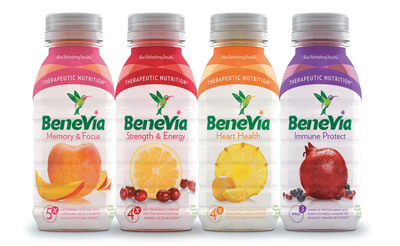 Fruit-based protein beverage BeneVia(R) comes in four varieties that address common health conditions faced by aging consumers. BeneVia(R) is fat free and about half the calories of other beverages in the adult nutrition category. (PRNewsFoto/BeneVia)