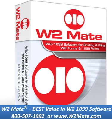 W2 Mate W2 / 1099 Software. Prepare, Import, e-File and Print W2 Forms and 1099 Forms.Creates secure PDF W2's and 1099's. Offers Powerful Import for W2 and 1099 Data. Supports W2, 1099-MISC, 1099-INT, 1099-DIV, 1099-R, W-3, 1096, 1099-S, 1098-T, 1098, 1099-A, 1099-B, 1099-C, 1099-K, 1099-PATR and 1099-OID.  (PRNewsFoto/Real Business Solutions)