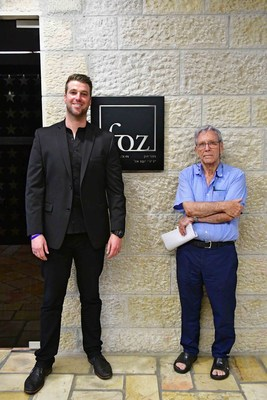 Best Selling Author Amos Oz with Michael Evans' representative entrepreneurs on his visit in Friends of Zion Museum in Jerusalem.