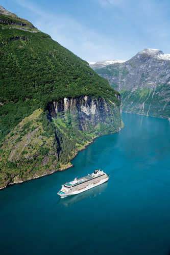 Crystal Serenity sailing through Geirangerfjord.  (PRNewsFoto/Crystal Cruises)