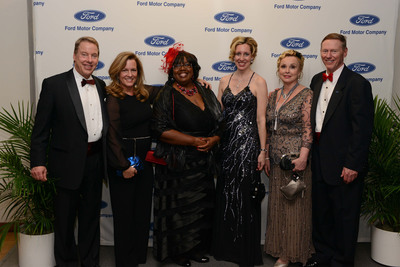 Bill Ford, Executive Chairman, Ford Motor Company; Lisa Ford; Debora Matthews, CEO, The Children's Center; Renee Godfrey, Corporate Alliance and CEC Manager, Ford Motor Company; Debbie Windey, Director, Corporate Alliance and Executive Services, Ford Motor Company; Alan Mulally, President and CEO, Ford Motor Company. Photo Credit: Keith Tollman. (PRNewsFoto/The Children's Center of Wayne County) (PRNewsFoto/CHILDREN'S CENTER OF WAYNE...)