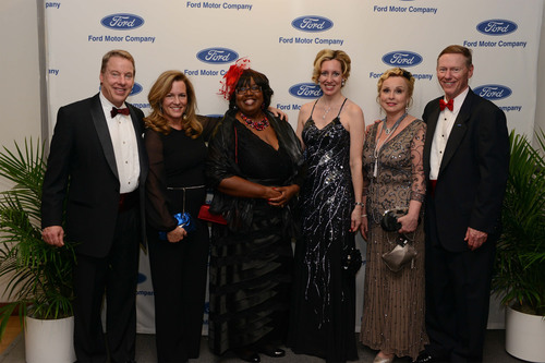 Bill Ford, Executive Chairman, Ford Motor Company; Lisa Ford; Debora Matthews, CEO, The Children's Center; Renee Godfrey, Corporate Alliance and CEC Manager, Ford Motor Company; Debbie Windey, Director, Corporate Alliance and Executive Services, Ford Motor Company; Alan Mulally, President and CEO, Ford Motor Company.  Photo Credit: Keith Tollman.  (PRNewsFoto/The Children's Center of Wayne County)