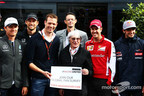Grand Prix Drivers Association (GPDA) president Alex Wurz (front center left) and Formula One Group chief executive Bernie Ecclestone (front center right) announced the GPDA Global Fan Survey prior to the F1 Monaco Grand Prix in Monte Carlo on May 22, 2015. Source: Motorsport.com