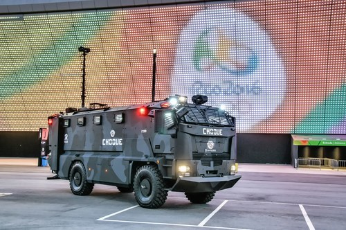 Plasan's Guarder armored vehicle helping to secure the 2016 Rio Olympics.  It is equipped with advanced ...