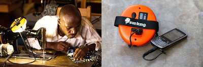 At left, Greenlight Planet's portable solar lamp, the Sun King Pro2 helps illuminate a tailor's work station in Rwanda.  At right, Greenlight Planet's Sun King Mobile charger can charge two standard mobile phones per day.  (PRNewsFoto/Greenlight Planet)