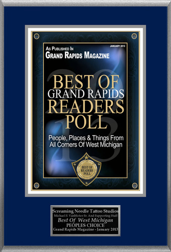 "Screaming Needle Studios Selected For ""Best Of Grand Rapids Readers Poll.""  (PRNewsFoto/Screaming Needle Studios)"