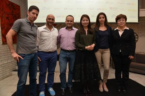 The Three Israeli startups that were chosen to represent Israel in Beijing at the Finals last August with JVP & Shengjing's team. (Left to right: Roy Dagan, Co-Founder, Securithings, Menny Shalom, CEO at Wayerz, Yoav Tzruya, partner JVP, Xueling Cao, Director at Shengjing group, Hila Goldman-Aslan, DiaCardio Co-Founder & CEO, Sherrie Wang, Senior Partner at Shengjing). (PRNewsFoto/Jerusalem Venture Partners) (PRNewsFoto/Jerusalem Venture Partners)