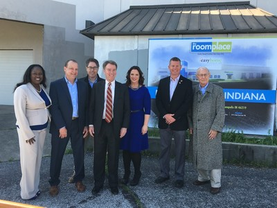 Councillor LaKeisha Jackson, District 14 (far left), Paul Adams, Chief Executive Officer of The RoomPlace, David Eskanazi, Indianapolis Mayor Joe Hogsett (center), Valerie Berman (center), Councillor David Ray, District 19, and Sidney Eskanazi (far right) attend the announcement of the expansion of The RoomPlace in Indianapolis, Indiana with a new 160,000 sq. ft. warehouse and showroom facility located at 8301 E. Washington St. on Monday, May 16, 2016. The facility will serve as the primary distribution center for the Indianapolis market and will house the sixth RoomPlace showroom in the area.