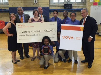 Voya Unsung Heroes 2nd place prize awarded to faculty and students at Williamsburg Collegiate Charter School in Brooklyn, New York.