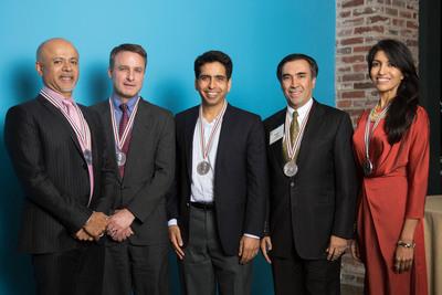 L-R - Abraham Verghese, Jonathan Foley, Salman Khan, Sanjeev Arora and Leila Janah. (PRNewsFoto/Heinz Family Foundation) (PRNewsFoto/HEINZ FAMILY FOUNDATION)