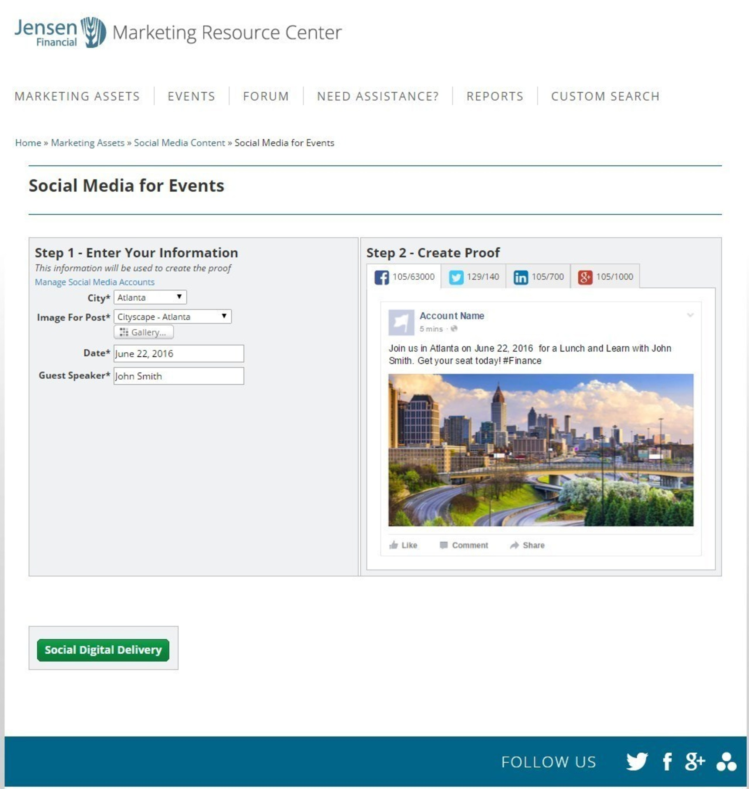 MarcomCentral social media capabilities provide controlled and customizable messaging to empower your employees.