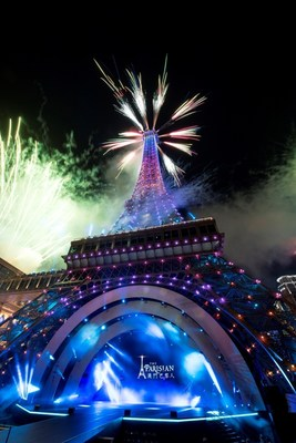 Pyrotechnics shoot from the authentic half-scale recreation of the Eiffel Tower at the grand opening ceremony of The Parisian Macao, lighting up the Cotai skyline Tuesday night.