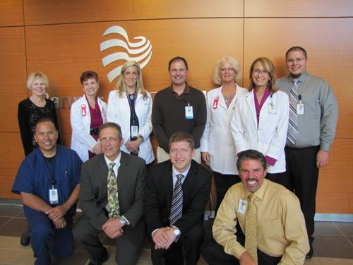 Banner Del E. Webb Medical Center - Front Row Left: Allen Gerace, BSN, RN; Mark Fargnoli (Colloquium VP of Member Services and lead reviewer); Dan Haber (Colloquium VP of Operations); Anthony Buchta, MBA, RN - Back Row Left: Pat Gorman, RN, MSN (IU Health Ball Memorial and site reviewer); Davidine Johnson, PharmD; Victoria Bulat, MSN, RN; Mark Bank, MS, CES; Deb Richards, MSN, RN; Christina Trifanoff, MSN, RN; Zach Miller, MHA, RN. (PRNewsFoto/The Healthcare Accreditation Colloquium) (PRNewsFoto/HEALTHCARE ACCRED. COLLOQUIUM)