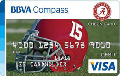 BBVA Compass commemorates University of Alabama's 15th football national title with Bama-branded check card.  (PRNewsFoto/BBVA Compass)