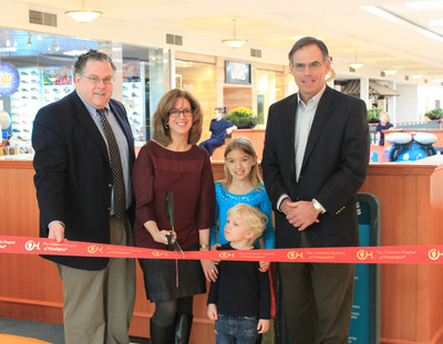 The Children's Hospital of Philadelphia celebrated the grand opening of the CHOP play area at King of Prussia Mall today with a ribbon cutting and fun activities for kids. The play area features bright, colorful play elements, including a replica of the Hospital, an ambulance, and rescue helicopter, designed to encourage creative play and exercise. Pictured (L-R): PA State Representative Tim Briggs (149th District); Dr. Julie Stern, pediatric oncologist and medical director, Oncology Outreach, The Children's Hospital of Philadelphia; Bob Hart, King of Prussia Mall Manager; and CHOP patient Max Veeck, 3, of Eagleville and Kacey Veeck, 9, of Wayne.  (PRNewsFoto/The Children's Hospital of Philadelphia)