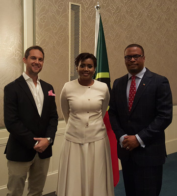 Mr. Jeremy Savory, Managing Partner, Savory & Partners, Mrs Wilkin-Armbrister, Acting Consul General, Consulate General of St. Kitts & Nevis, Dubai, UAE, The Honourable Mark A. G. Brantley Minister of Foreign Affairs. (PRNewsFoto/Savory And Partners)