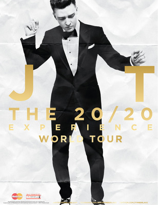 JUSTIN TIMBERLAKE ANNOUNCES THE 20/20 EXPERIENCE WORLD TOUR, ARTIST'S FIRST HEADLINING TOUR IN SIX YEARS WILL VISIT CITIES THROUGHOUT NORTH AMERICA, EUROPE, AUSTRALIA AND SOUTH AMERICA.  (PRNewsFoto/Live Nation)