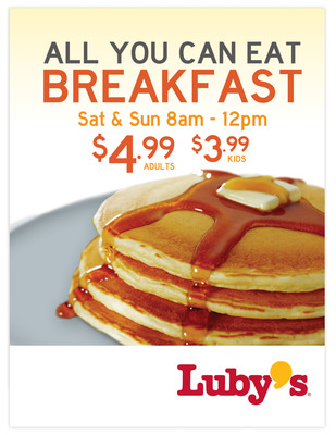 Luby's recently introduced an All You Can Eat Breakfast for only $4.99. The breakfast is available Saturday and Sunday from 8 a.m. to 12 p.m. at select Luby's locations.  (PRNewsFoto/Luby's, Inc.)