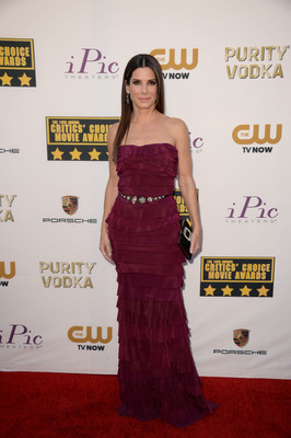 Sandra Bullock attends the 19th annual Critics' Choice Movie Awards presented by Porsche at The Barker Hangar in Santa Monica on Thursday, Jan. 16, 2014.  (PRNewsFoto/Porsche Cars North America, Inc.)