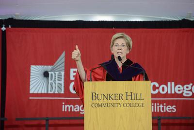 U.S. Senator Elizabeth Warren delivering the keynote address at the 41st Commencement exercises of Bunker Hill Community College (BHCC).