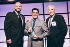 Tony Atti, Phononic CEO (center), and Mark McClear, Phononic COO (right), accepting the 2015 Innovative Product Award at the NC Tech Awards.