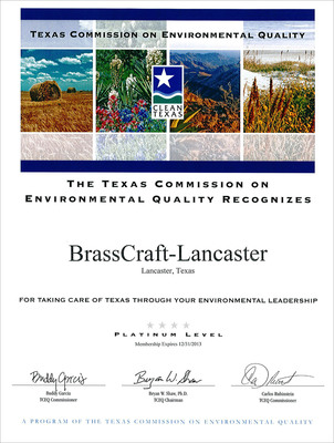 BrassCraft receives Platinum Environmental Quality recognition from Clean Texas program.  (PRNewsFoto/BrassCraft Manufacturing Company)