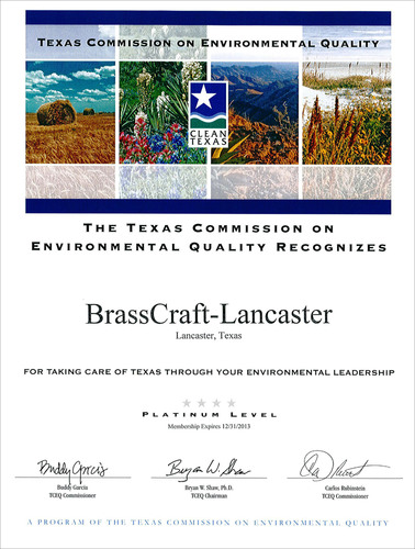 BrassCraft receives Platinum Environmental Quality recognition from Clean Texas program.  ...