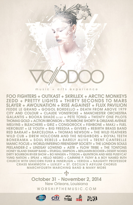 VOODOO MUSIC ARTS EXPERIENCE ANNOUNCES 2014 LINE-UP WITH HEADLINERS FOO FIGHTERS, OUTKAST, SKRILLEX AND ARCTIC MONKEYS