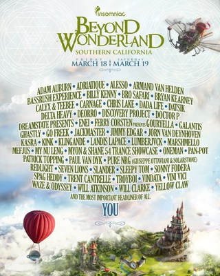 Insomniac Reveals Massive Lineup For 2016 Beyond Wonderland, Southern California, March 18-19, San Manuel ...
