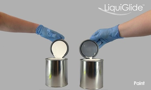 LiquiGlide's coating allows paint to slide out of cans and through pipes with ease, minimizing waste and reducing harmful environmental impact. (PRNewsFoto/LiquiGlide, Inc.)