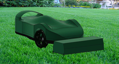 New SmartMow Robot Lawn Mower with Docking Station in green.  (PRNewsFoto/RoboLabs, Inc.)