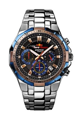 The new EDIFICE Scuderia Toro Rosso Limited Edition watch, EFR-554TR, marks Casio's first partnership model with Scuderia Toro Rosso. (PRNewsFoto/Casio)