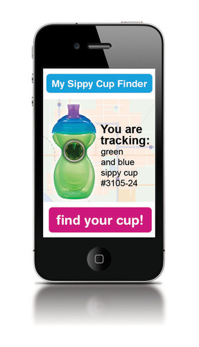 """My Sippy Cup Finder"" iPhone App for Click Lock(TM) GPS sippy cups - April Fools'!  (PRNewsFoto/Munchkin, Inc.)"