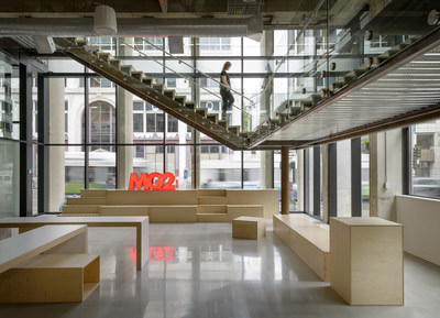 MG2's Seattle office features a unique street-facing exhibit space