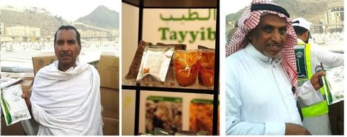 Pilgrims in Makkah with Tayyib Halal Ready to Eat Meals (PRNewsFoto/Saahtain Foods) (PRNewsFoto/Saahtain Foods)