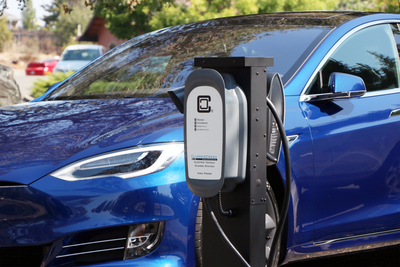 The PMD-10R Ruggedized ProMountDuo Universal Pedestal supports ClipperCreek and Tesla electric vehicle charging stations.