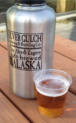 A sample pour of Silver Gulch Brewing & Bottling Co.'s Old 55 Pale Ale in a recyclable Alaska Airlines inflight glass.  (PRNewsFoto/Alaska Airlines)