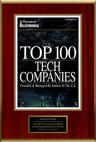 Sureline Systems Selected For ''Top 100 Tech Companies Founded And Managed By Indians In The U.S.'' (PRNewsFoto/Sureline Systems)