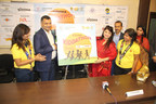 Mr Sanjay Jain, Managing Director, Siddha Group, Reetika Jain, Chairperson, Calcutta Central Ladies Circle 27, Shweta Poddar, Area Chairperson, Ladies Circle India, Dr Suman Malik, Head Radiotherapist, NH Narayana Speciality Hospitals, Kolkata & Actress Pallavi Chatterjee unveiling the logo of Siddha Kiddathon 2016 (PRNewsFoto/Siddha Group)