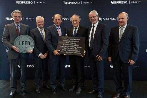 Nespresso inaugurates its third production centre in Romont, Switzerland. From left to right: Jean-Marc Duvoisin, Beat Vonlanthen, Paul Bulcke, Johann Schneider-Ammann and Roger Brodard (PRNewsFoto/Nestle Nespresso SA) (PRNewsFoto/Nestle Nespresso SA)