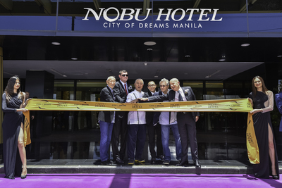 The official Ribbon Cutting Ceremony to formally open the doors of the first Nobu Hotel in Asia at City of Dreams Manila. Wielding the authentic Japanese Tanto sword are Melco Crown Entertainment Co-Chairman and CEO Mr. Lawrence Ho and Co-Chairman Mr. James Packer, Chef Nobu Matsuhisa, multi Academy award-winning actor and Nobu partner, Mr. Robert De Niro, Hollywood Film Producer and Nobu partner, Mr. Meir Teper and Chief Executive of Nobu Hospitality Mr. Trevor Horwell.